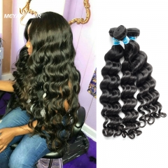 Meya cheap Brazilian cuticle aligned unprocessed remy human loose wave hair bundles
