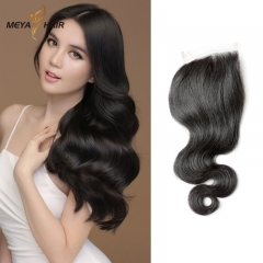 Meya 100% human 4*4 lace Closures Brazilian factory price body wave