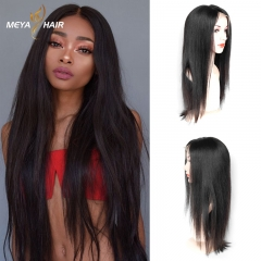Meya 100% human full lace wigs straight Brazilian hair factory price