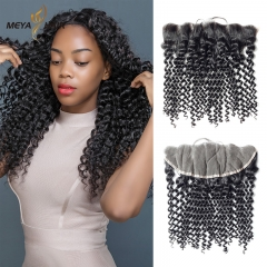 Meya 100% human 13*4 lace Frontal deep curl Brazilian factory price